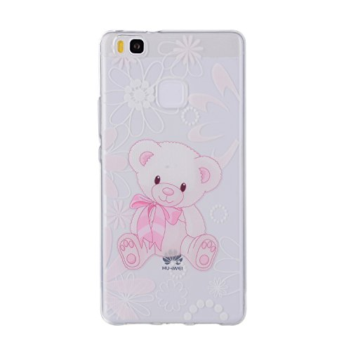 Huawei P9 Lite Cover, CaseLover Custodia per Huawei P9 Lite Bella Stampa Modello Bumper Morbida TPU Silicone Flessibile Sottile Ultra Thin Slim Anti-Scratch Antigraffio Back Cover per Carina Ragazza - I am a cute bear doll / Io sono una bambola simpatico orso / Gift