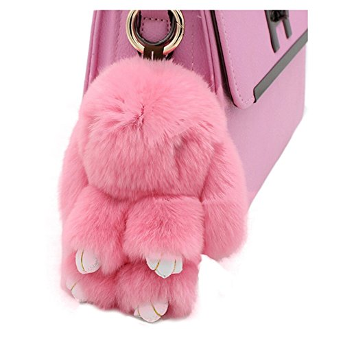 13CM Fluffy Rabbit Keychain Cute Lovely Nature Fur Bunny Doll Key Ring Decor for Women's Handbag Car Pendant Gift 80Store (Rabbit Faux)