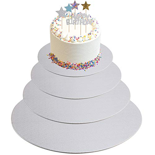 KINDPMA 4er Cake Board 30cm 25cm 20cm 15cm Cakeboard rund Tortenplatte Pappe Tortenunterlage mit 4 Set Torte Topper Kuchenplatte beschichtet Cake Boards für Fondant Mehrstöckige Torten Silber Cake Board