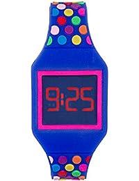 Reloj LED Digital chica, infantil y joven, de pulsera, correa de suave silicona, trendy regalo, topos multicolor, Kiddus KI10212
