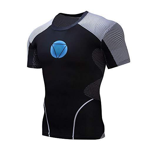 Herren Kompressions-T-Shirt Superheld Fitnessstudio Langarm Laufen Sweatshirt Trainieren Tops Ironman