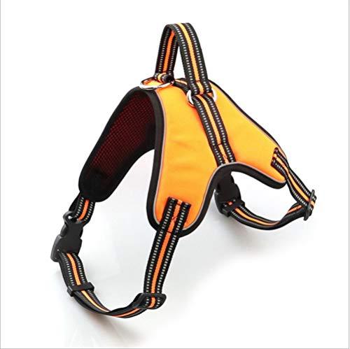 YAMERIJIA Reflektierende PET-Brustgurt, Oxford-Tuch, Sattel-Stil, Hundetraktion, Große Und Mittlere Hunde, Hunde Brustgurt,Orange,XXL (Für Hunde Große Pet-tücher)