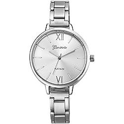 Geneva Platinum Analog Silver Dial Women's Watch- GP-135
