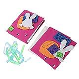 3 stücke ostern thema grußkarten machen kit niedlichen cartoon einladungskarte diy segen karten handmade material paket für kinder (gelb kaninchen)