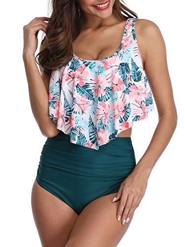 Durio Bikini High Waist Bikini Damen Set Hohe Taille Bikinihose Zweiteiliger Bikini mit Langem Volant Pinke Blumen-Army Grün EU 44 (Herstellergröße 2XL)
