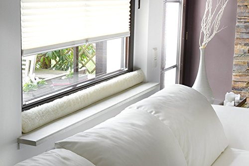Zugluftstopper für Fenster aus 100% Schurwolle Natur Fenster 120 cm
