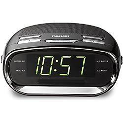 Nikkei NR151D - Radio-Réveil avec Radio FM Numérique, Horloge a ecran, Double Alarme, Batterie de Secours, Radioclock FM, Noir