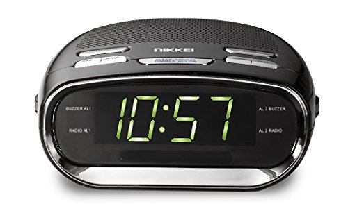 Nikkei NR151 - Wecker mit Radio FM, Digitaler Radiowecker, Uhrenradio mit Radio, Große Display, Snooze, Batterie Backup, Sleeptimer, Dual Alarm, Doppelalarm und Schlummerfunktion - Wecker Batterie-backup Mit