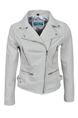 Ceneri 2100 da donna bianco biker sottile Real in vera pelle giacca