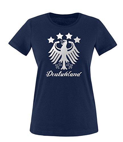 Luckja EM 2016 Deutschland Adler Fanshirt Silver Edition M 01 Damen Rundhals T-Shirt Navy/Silber