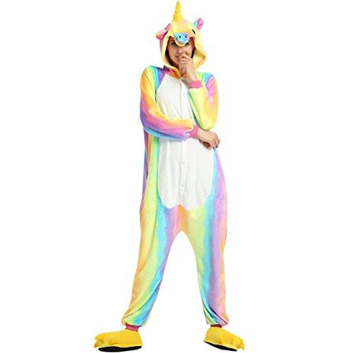 Einhorn Pyjama Tiere Onesie Jumpsuits für Damen Herren Kinder Weiches Flanell Schlafanzug Cosplay Kostüme Größe von 90 cm bis 180 cm (Empfohlene Höhe XL (170cm - 180cm), Einhorn Regenbogen)