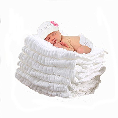 Aoming-Toalla-Bao-para-Bebs-100-Algodn-de-muselina-Toalla-de-abrigo-Blanco-Tambin-como-una-Frazada-para-Bebs