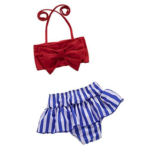 Kleinkind Mädchen Bademode Striped Printed Bow Bikini Badeanzug Beach Set -