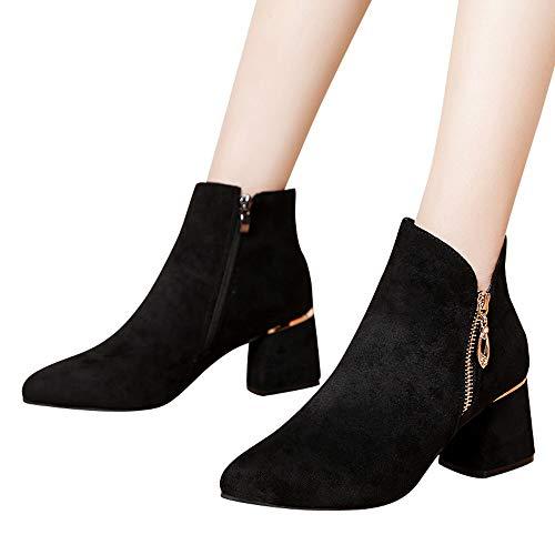 (GHEMD Frauen High Heel Schuhe Damen Wildleder Einfarbig Stiefel Spitz Zipper Stiefel Feminin Outdoor Freizeitschuh Winterstiefel)