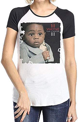 Medress Frauen Generisches Lil Wayne Tha Carter III Kurzarm Raglan Baseball T-Shirt Schwarz Small