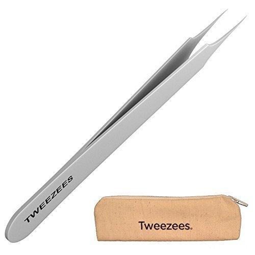 Professional Pointed Ingrown Hair Splinter Tip Tweezers - Tweezees Precision Stainless Steel Tweezers - Extra Sharp and Perfectly Aligned for Ingrown Hair Treatment & Splinter Removal by Tweezees