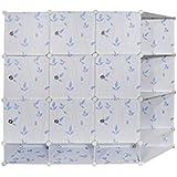 Nyrwana Portable And Foldable Multipurpose Cupboard Closet Shelf Storage Cabinet 9 Door Storage Bookcase, Organizer Rack Shelf For Kids And Women Clothes - Blue Leaf & White