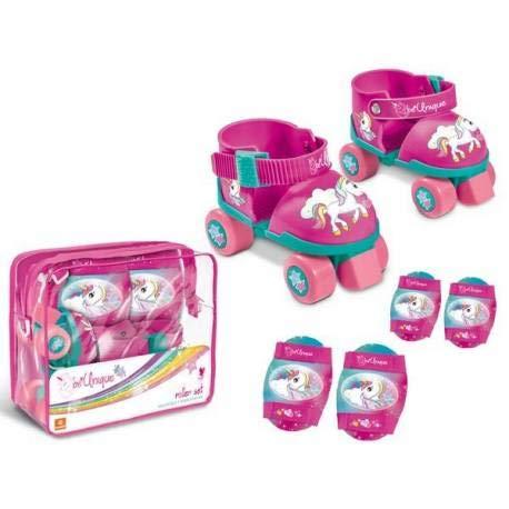 Mondo-28511 Bolsa Patines+protección Unicornios T/22-29, Color Rosa (28511