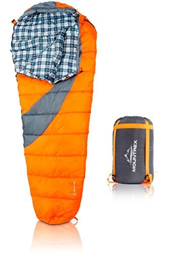 MOUNTREX Schlafsack für Camping, Wandern und Backpacking; wasserabweisender, koppelbarer Outdoor Mumienschlafsack mit Kapuze & Kragen; 220x80 cm, orange