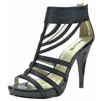 1TO3 - Sandale en satin multi-brides Noir