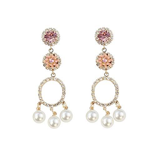 Qingerda Pink Diamond + Pink Pink Stereo Flower S925 Ohrringe Pink Stereo