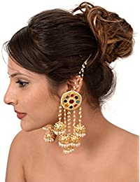 Sanjog Traditional Designer Imperial Pearls With Multi Color Stones Jhumki Dangle & Drop Earrings For Women/Girls...