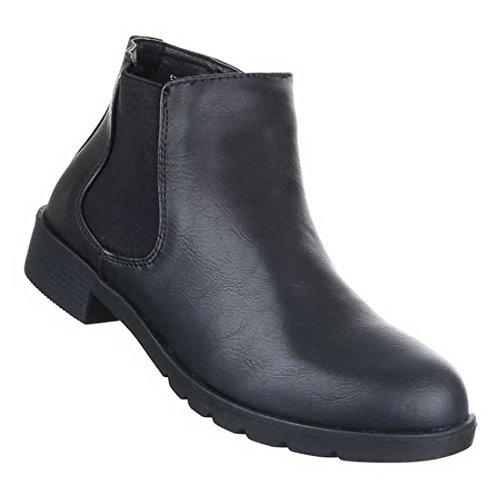 Damen Boots Stiefeletten Schuhe Stretch Schwarz Grau 36 37 38 39 40 41 Schwarz