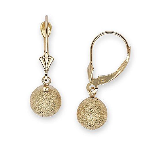 14K Giallo Oro grande Laser-Cut orecchini pendenti a sfera-Misure 27x 8mm-JewelryWeb