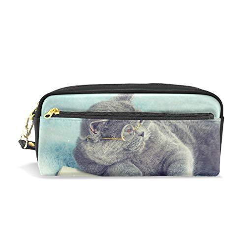 Federmäppchen mit Reißverschluss, groß, Make-up-Tasche, Katze, mit Brille, auf dem Buch liegend, Federmäppchen für Jungen und Mädchen
