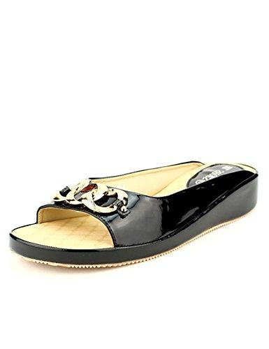 Cendriyon Mules Noires Vernies ML Shoes Chaussures Femme