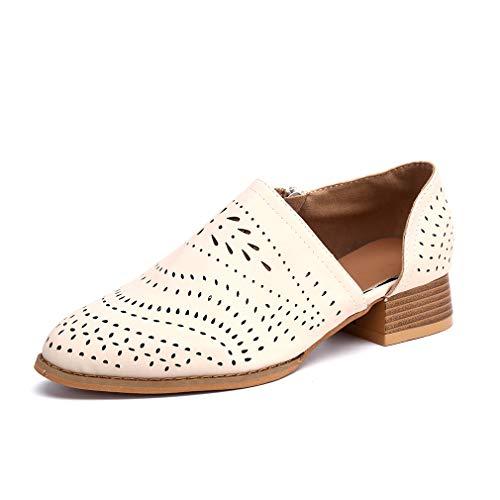 Zapatos de Vestir Mujer Planas Derby Transpirable Oxford Casual Fiesta Sandalias Primavera Verano Calzado Tacón 3cm Beige 36