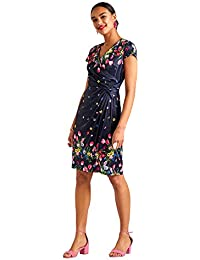 c908b1ad7ece8 YUMI Navy Bouquet Floral Print V-Neck Wrap Dress