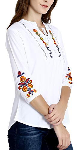 Triumphin White Women Short Top Kurti for Jeans Embroidered Cotton Top for Daily wear Stylish Casual and Western Wear Women/Girls Tops