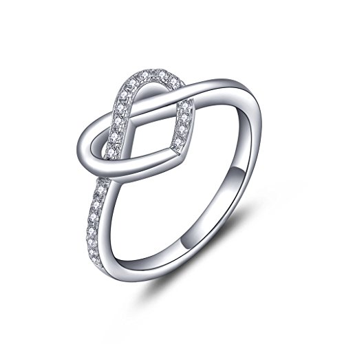 YL Jewelry 925 Sterling Silber Zirkonia Herz Promise Ring Damen Schmuck (Großes Herz-ring)