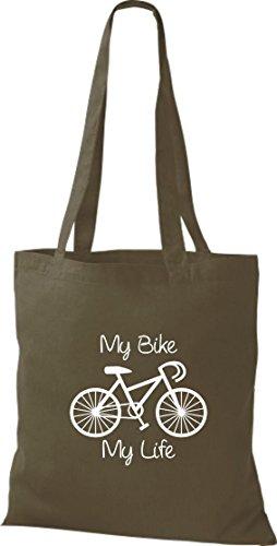 Pochette en tissu My Bike My Life Vélo BMX Kultpiercing Sac en coton, Sac Plusieurs couleurs Vert - Olive