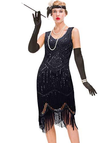 GVOICE Damen 1920er Jahre Vintage Kleid - Fransen Great Gatsby Kleid (Schwarz, XS(Bust 31.5