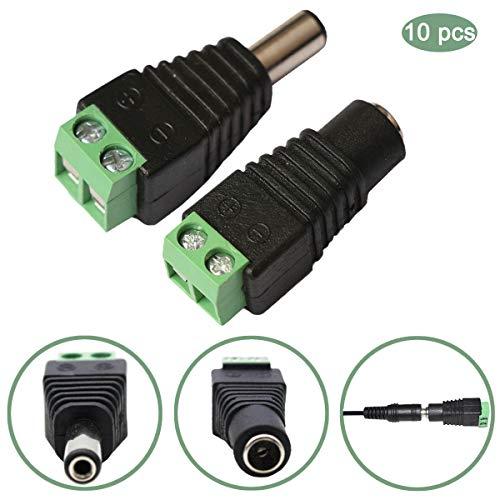wowled 10PCS DC Power männlich + weiblich Stecker Adapter 3528LED strips CCTV Kamera (Professionelle Cctv-kamera)