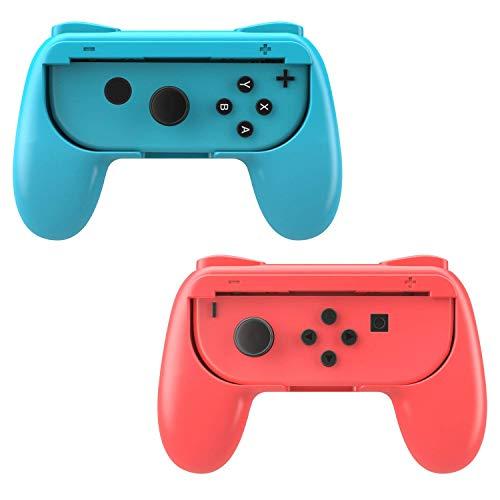 MoKo Kompatibel mit Nintendo Switch Joy Con Griff Gaming Controller - [2 Stück] Komfort Gamepad Controller Grips für Switch Joy-Con, Rot und Blau