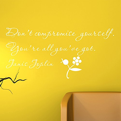Donot da parete fai materia di compromesso che sarà Got Janis Joplin (confezione da parete, rimovibile, motivo: lettera da parete fai-da-te, vinile, Bianco, Small Size