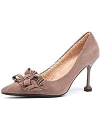 UENGF Tacones Altos Zapatos De Mujer Bowtie Tacones Altos Plisados Bombas  Calientes Zapatos De 52f552067d75
