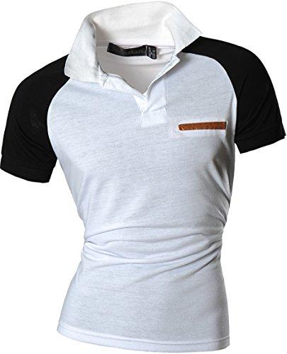 jeansian Herren Freizeit Slim Fit Short Sleeves Casual POLO T-Shirts U008 White
