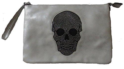 Damen Handtaschen Tasche Schultertasche Umhängetasche mit Stern oder Totenkopf Muster Tragetasche Stern grau Totenkopf blau