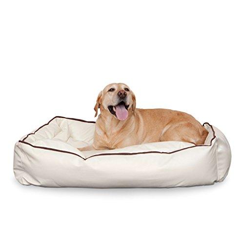 Smoothy Hundekorb aus Leder; Hunde-Körbchen; Hundebett für Luxus Vierbeiner; Beige-Weiß Größe L (106x74cm) - 2
