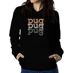 Sudadera con capucha de mujer Pug repeat retro