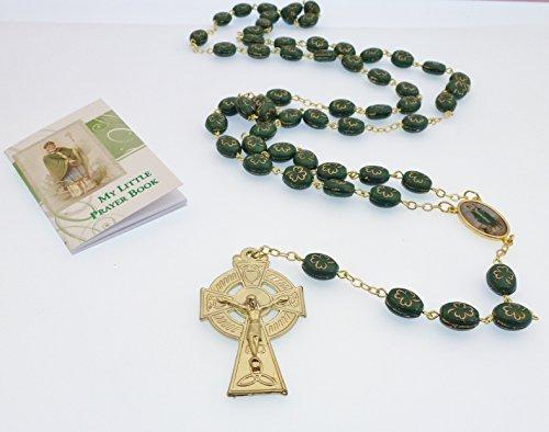 Bicchiere verde Irlandese color oro Shamrock St. Patrick rosari Cattolica + Preghiera libro
