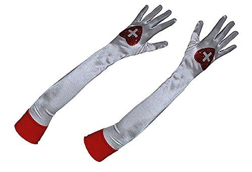 Halloweenia - Kostüm Handschuhe - Krankenschwester Verkleidung Zubehör - 54cm, Weiß (Nurse Naughty Zubehör)