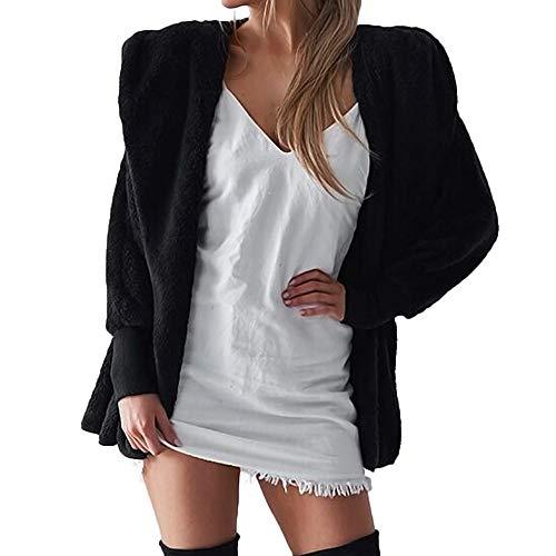 Damen Hooded Fluffy Coat Winterjacke Strickjacke Mantel Outwear Jumper lose große größe mit Kapuze plüschmantel-Jumper Pullover Oberteile- Freizeit Top-Kapuzen Bluse-Langarm Blusen(Schwarz,S)