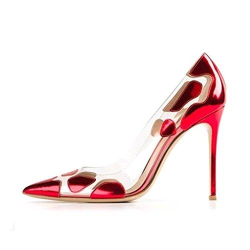 Damen Pumps High-Heels Stiletto Durchsichtig Beschlagene Süße Rot EU38