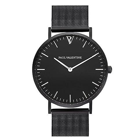 Paul Valentine Montre bracelet   Feliz Black Mesh–Montre pour Femme avec élégant & Design intemporel et en bracelet en acier inoxydable