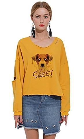 So'each Women's Animal Sweet Dog Graphic Crop Tops Hole Pullover Sweatshirt